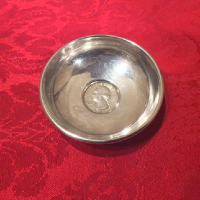 Sterling Pin Dish w/ United States Coin - 1963 Liberty Quarter