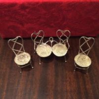 Silver Twisted Wire & Coins Miniature/Doll House Settee & Two Chairs - Dutch Coins