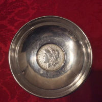 Sterling Dish w/ United States Coin - 1890 Morgan Silver Dollar