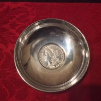 Sterling Dish w/ United States Coin - 1891 Morgan Silver Dollar