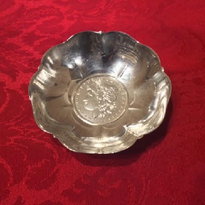 Sterling Dish w/ United States Coin - 1890 Morgan Silver Dollar - Dollar Savings Bank Of New York -Tiffany & Co