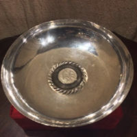 Sterling Serving Dish - Bowl w/ 1894 Republica Peruana Lima 9 Decimos Fino Coin