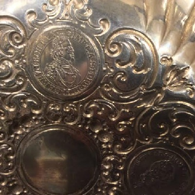 "Large ""Handarbeit"" (Hand Made) 800 German Silver Dish w/ Five Coins - 1677 - 1642 - 1694 - 1694 - 1765"