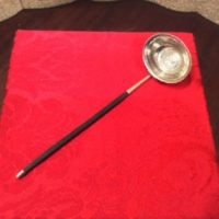 18th c. Georgian Silver Sauce / Cream Ladle w/ 1787 George III Sixpence - Baleen Handle