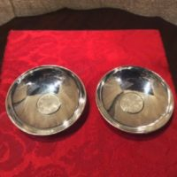 PAIR - 950 Silver Sauce Dishes By K Uyeda w/ Japanese Coins