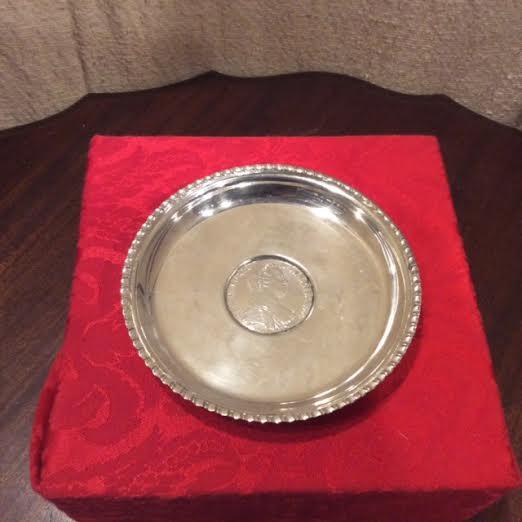 800 Silver Flat Pin Dish w/ Maria Theresia Taler Dated 1807