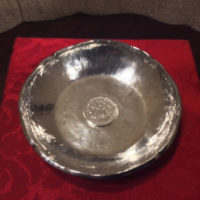 Sterling Hand Hammered Dish - Bowl w/ 1907 Peruvian 1/2 Sol Coin