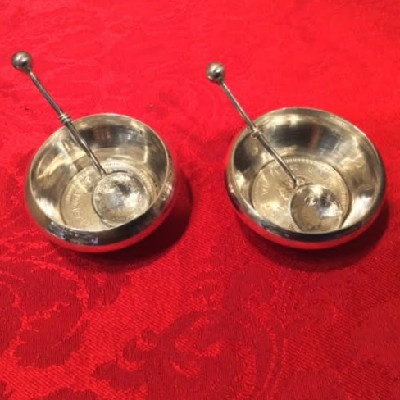 PAIR Silver Individual Salt Dishes w/ Spoons - 1944 & 1945 George VI King Emperor India One Rupee Coins