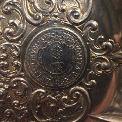 """Large """"Handarbeit"""" (Hand Made) 800 German Silver Dish w/ Five Coins - 1677 - 1642 - 1694 - 1694 - 1765"""