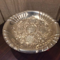 "Large ""Handarbeit"" (Hand Made) 800 German Silver Dish w/ Five Coins - 1677 - 1642 - 1694 - 1696 - 1765"