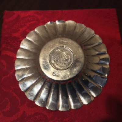 Sanborn's Sterling Fluted Dish w/ 1944 Mexican Silver Peso