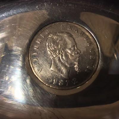 Silver Oval Dish w/ 1872 Italian 5 Lire - Vittorio Emanuele II Coin