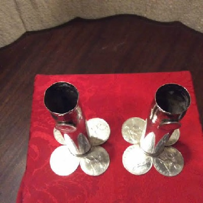 PAIR Silver Candlesticks / Flower Vases w/ Great Britain George V One Penny & Half Penny Coins