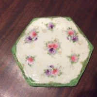 Tea Tile - 19th c. Victorian Hand Painted Floral Design