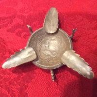 Small Silver Ashtray With Peruvian 1923 Un Sol Coin