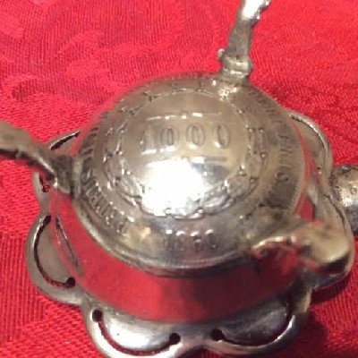 900/1000 Silver Ashtray w/ 1860 Brazilian 1000 Réis Coin