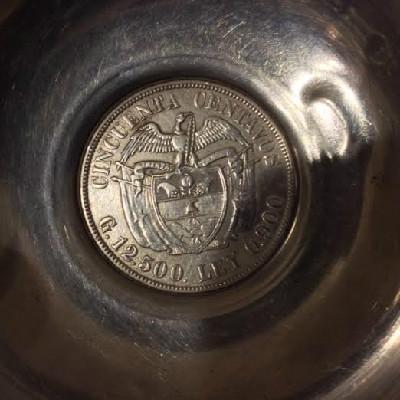 Silver Ashtray w/ 1922 Columbia 50 Centavos Coin & Three Columbian 10 Centavos Coins - 1942 - 1940 - 1942