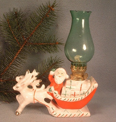 Santa Claus In Sleigh w/ Reindeer Kerosene Oil Lamp - Vintage Ceramic - Made In Japan
