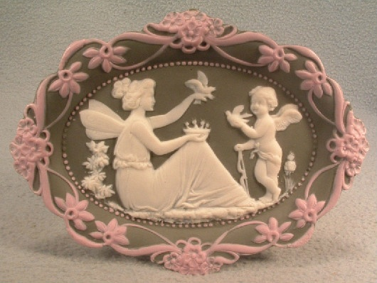 Schafer & Vater - German Bisque - Porcelain - Jasperware Fairy & Cherub Plate - Vintage