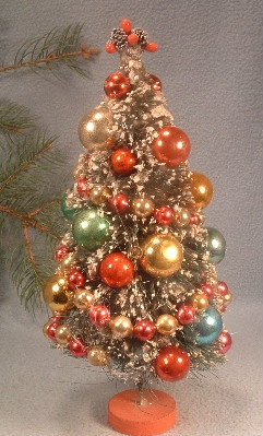 Bottle Brush Christmas Tree - 1950s Flocked Decorated 10 Inches Tall - Vintage Christmas