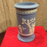 Wedgwood Light Blue Jasperware Winged Fairy & Cherubs Decorated Vase - Vintage