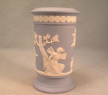 Wedgwood Light Blue Jasperware Winged Fairy & Cherubs Decorated Vase - Vintage