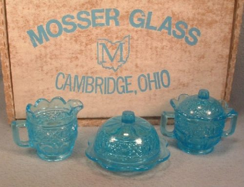 Mosser Sapphire Blue Glass Child's Creamer, Sugar, Butter Dish Set - Vintage Mint In The Box!