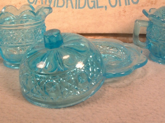 Mosser Sapphire Blue Glass Child's Creamer, Sugar, Butter Dish Set - Vintage Mint In The Box!