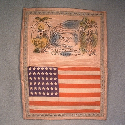 World War I Doughboy - Sweetheart American Flag Silk Handkerchief Holder - Great piece of US Militaria