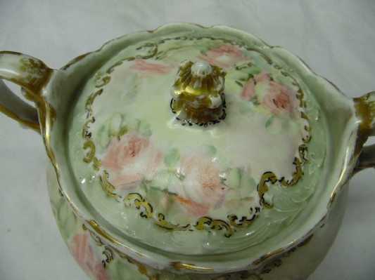 Hand Painted German Biscuit Jar