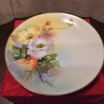 Nippon Floral Plate - Hand Painted - Artist Signed