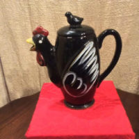 Chicken Coffee Pot - Vintage - Hand Painted - Royal Japan Red Ware Pottery