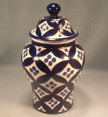 Talavera Mexican Pottery Lidded Jar / Vase - Hand Painted Blue & White - Vintage Monte Blancho