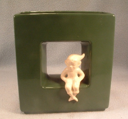 Mid 20th Century Modern Cameron Clay Pixie Elf Wall Pocket Vase - The Year Round Elf On A Shelf!