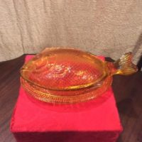 Fish Covered Candy Dish - Vintage 1940's L.G. Wright Amber Glass