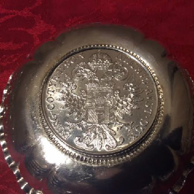 Silver Pin Dish w/ Maria Theresia Taler Dated 1780