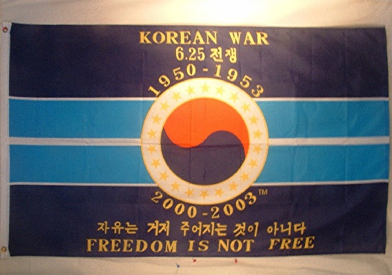 "Korean War 50th Anniversary Commemorative Flag ""Freedom Is Not Free"" - 36"" by 60"" - Great piece of US Militaria"