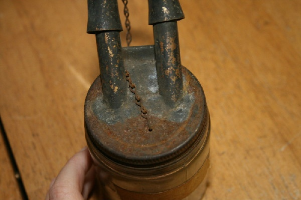 RARE, Double Wick Whale Oil Lamp Cover & Jar - 19th c