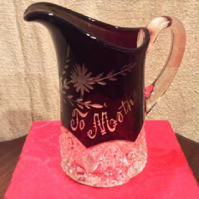 "EAPG Button Arches - Ruby Stained - Wheel Cut Floral Pitcher - ""To Mother"" - ca. 1897"