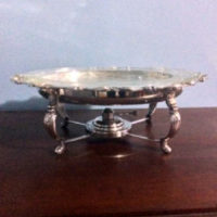 Silver Bain-Marie w/ Pyrex Footed Platter - W&S Blackinton Co. - Meriden CT - Downton Abbey Elegance