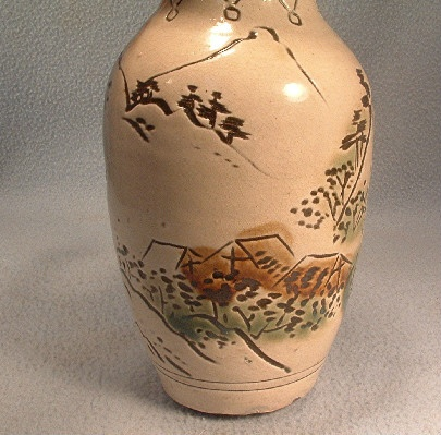 Antique Chinese Pottery Vase w/ Incised Mountain Scene - Signed On Bottom