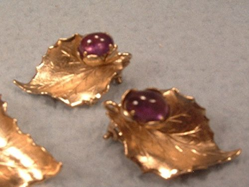 Amethyst Cabochons Brooch & Earrings Set - Vintage 1/20 12K Gold Filled Leaf