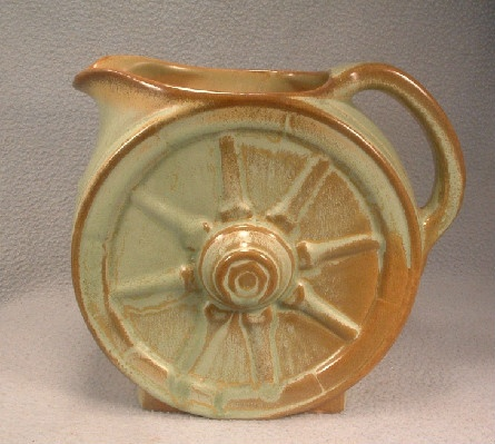 Large Wagon Wheel Pitcher - Vintage Frankoma Pottery - Prairie Green