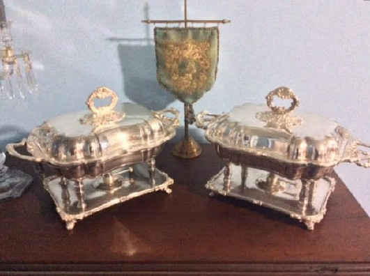 PAIR- Sheffield Rectangular Covered Serving Dishes - Chafing Dishes - Downton Abbey Elegance
