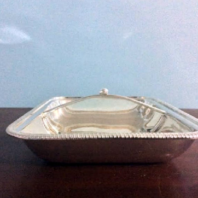 Covered Divided Serving Dish - Vintage Silver Plate - Downton Abbey Elegance