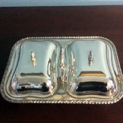 Silver - Double Sided Serving Dish - Footed w/ Passing Handle - Downton Abbey Elegance