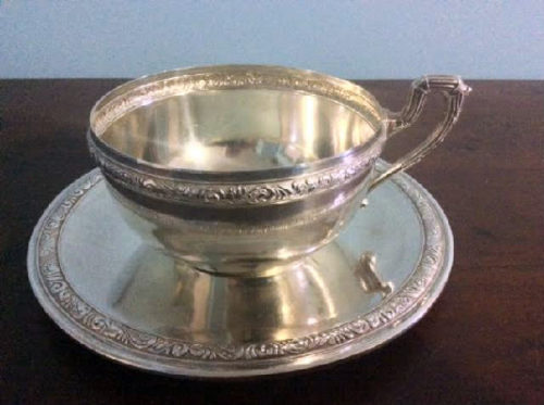 Sterling Silver Chowder Cup & Saucer - Spanish Silversmith DIONISIO GARCÍA - Appointed Silversmith To King Alfonso XIII - Downton Abbey Elegance