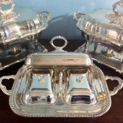 Sheffield Silver - Covered Serving Dish w/ Double Insert - Downton Abbey Elegance
