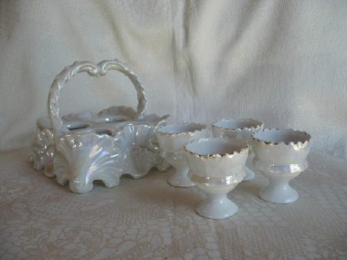 Iridescent Lustre Egg Cup Holder - Tray - Basket w/ 4 Egg cups -Downton Abbey Elegance Country Style