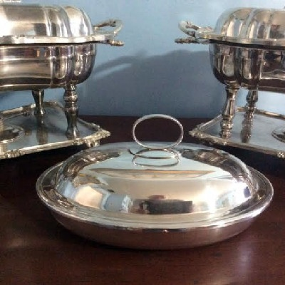 Sheffield Silver - Covered Serving Dish w/ Hot Water Well - Thomas Wilkinson & Sons - Birmingham England - Downton Abbey Elegance
